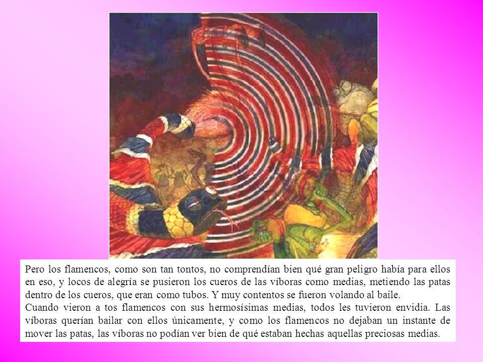 Pero los flamencos, como son tan tontos, no comprendían bien qué gran peligro había para ellos en eso, y locos de alegría se pusieron los cueros de las víboras como medias, metiendo las patas dentro de los cueros, que eran como tubos. Y muy contentos se fueron volando al baile.