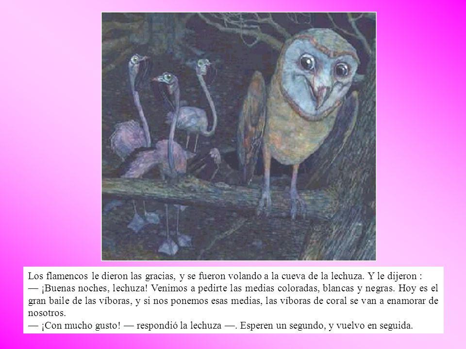 Los flamencos le dieron las gracias, y se fueron volando a la cueva de la lechuza. Y le dijeron :