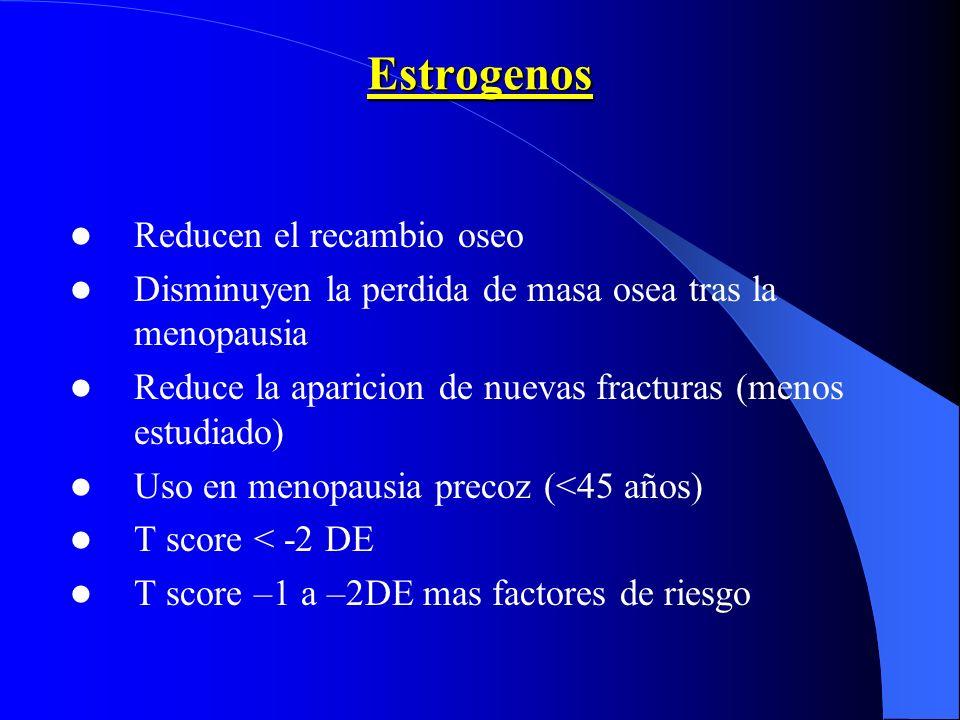 Estrogenos Reducen el recambio oseo