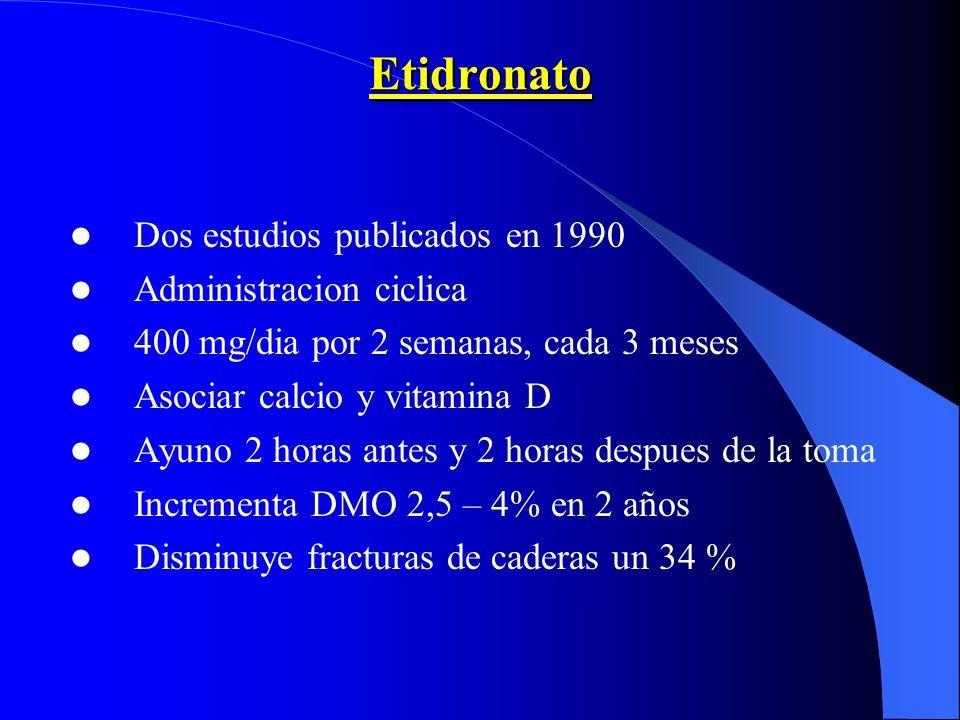 Etidronato Dos estudios publicados en 1990 Administracion ciclica