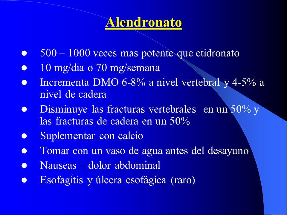 Alendronato 500 – 1000 veces mas potente que etidronato