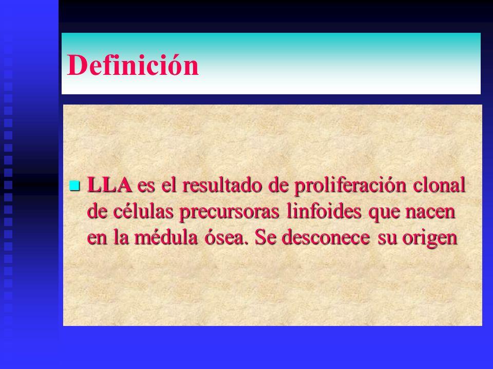 Definición LLA es el resultado de proliferación clonal de células precursoras linfoides que nacen en la médula ósea.