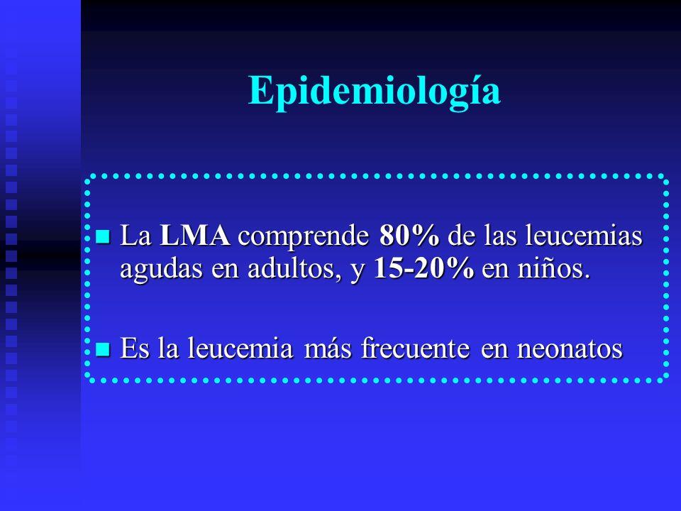 Epidemiología La LMA comprende 80% de las leucemias agudas en adultos, y 15-20% en niños.