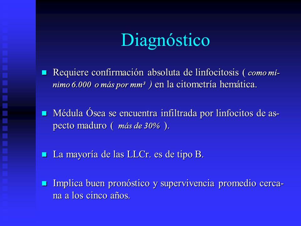 DiagnósticoRequiere confirmación absoluta de linfocitosis ( como mí-nimo 6.000 o más por mm³ ) en la citometría hemática.