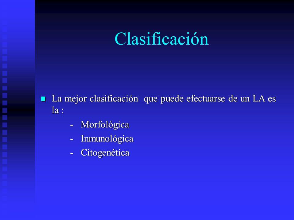 ClasificaciónLa mejor clasificación que puede efectuarse de un LA es la : - Morfológica. - Inmunológica.