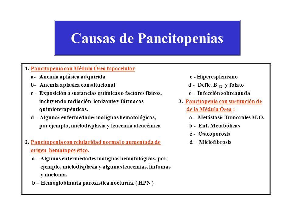 Causas de Pancitopenias