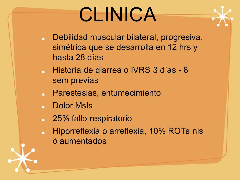CLINICA Debilidad muscular bilateral, progresiva, simétrica que se desarrolla en 12 hrs y hasta 28 días.
