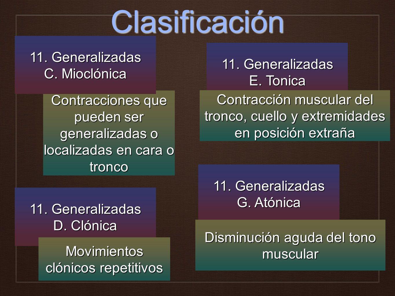 Clasificación 11. Generalizadas 11. Generalizadas C. Mioclónica