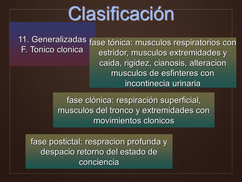 Clasificación 11. Generalizadas F. Tonico clonica