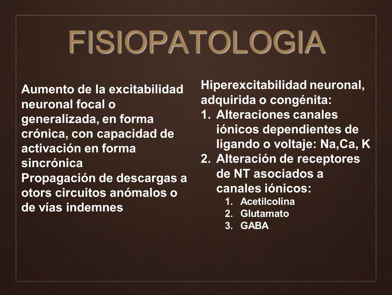 FISIOPATOLOGIA Hiperexcitabilidad neuronal, adquirida o congénita: