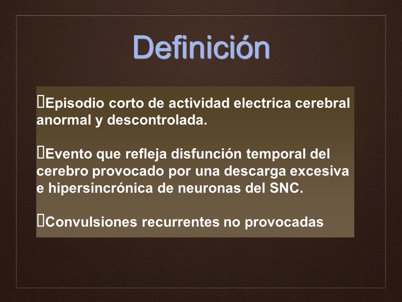 Definición Episodio corto de actividad electrica cerebral anormal y descontrolada.