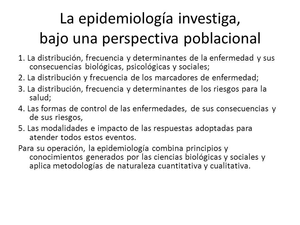 La epidemiología investiga, bajo una perspectiva poblacional