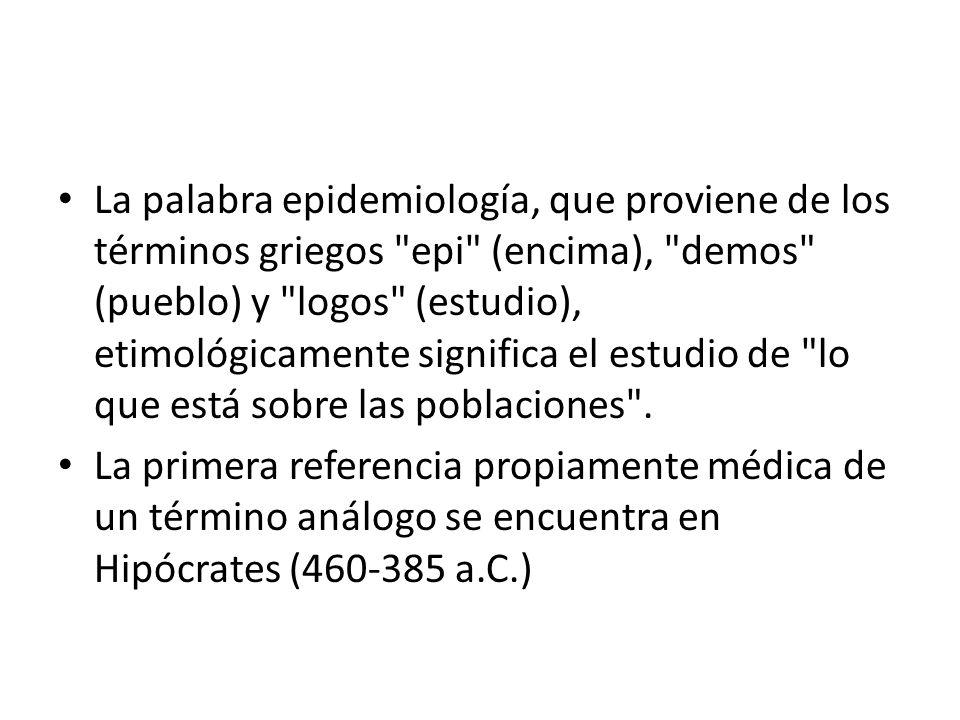 La palabra epidemiología, que proviene de los términos griegos epi (encima), demos (pueblo) y logos (estudio), etimológicamente significa el estudio de lo que está sobre las poblaciones .