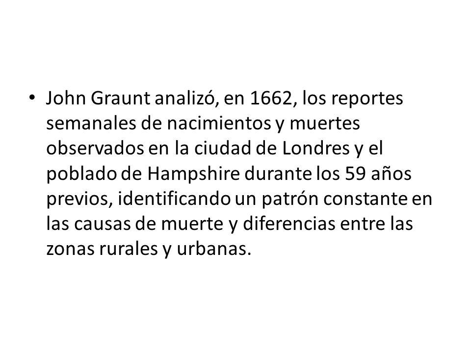 John Graunt analizó, en 1662, los reportes semanales de nacimientos y muertes observados en la ciudad de Londres y el poblado de Hampshire durante los 59 años previos, identificando un patrón constante en las causas de muerte y diferencias entre las zonas rurales y urbanas.