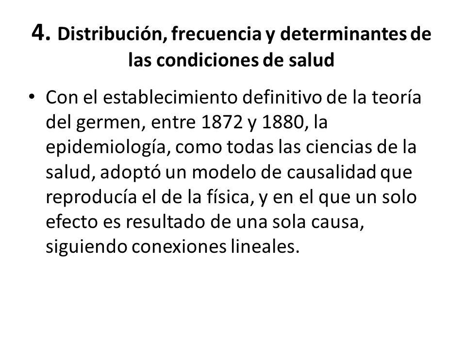 4. Distribución, frecuencia y determinantes de las condiciones de salud