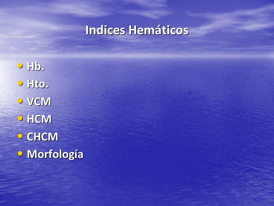 Indices Hemáticos Hb. Hto. VCM HCM CHCM Morfología