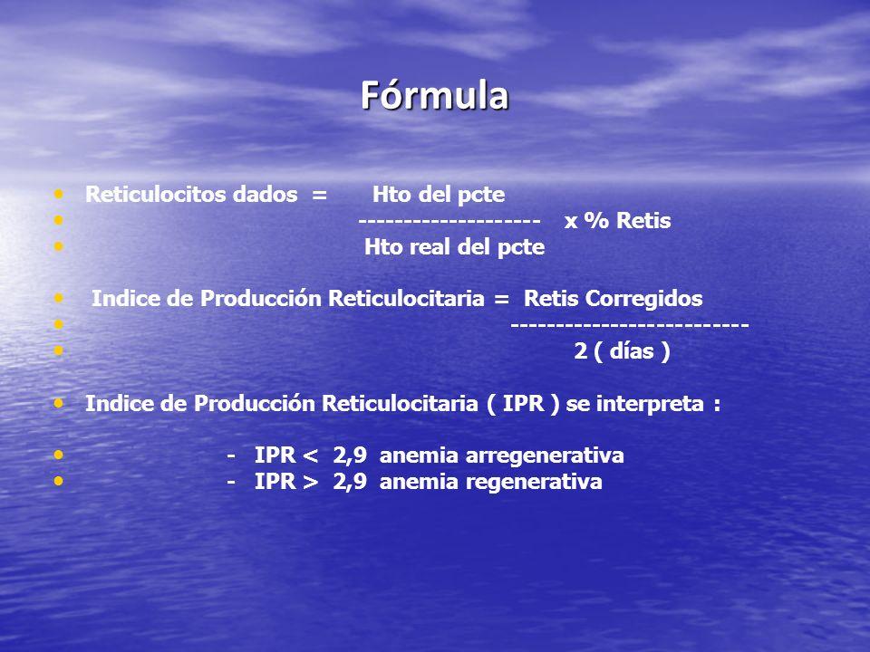 Fórmula Reticulocitos dados = Hto del pcte