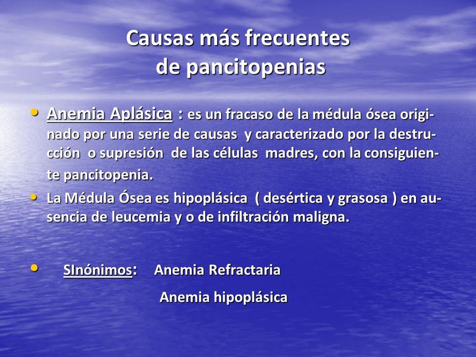 Causas más frecuentes de pancitopenias