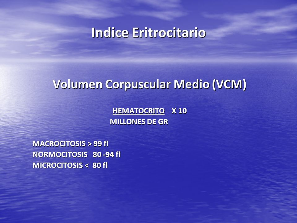 Volumen Corpuscular Medio (VCM)