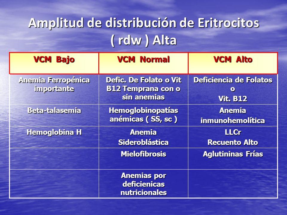 Amplitud de distribución de Eritrocitos ( rdw ) Alta