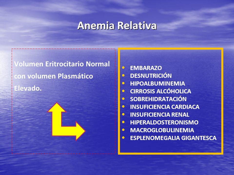 Anemia Relativa Volumen Eritrocitario Normal con volumen Plasmático