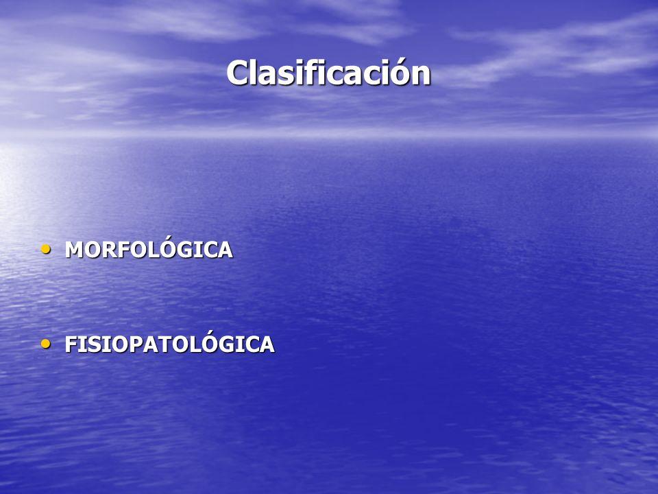 Clasificación MORFOLÓGICA FISIOPATOLÓGICA