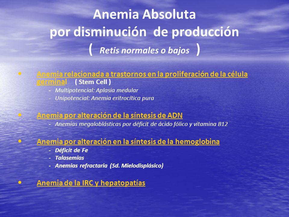 Anemia Absoluta por disminución de producción ( Retis normales o bajos )