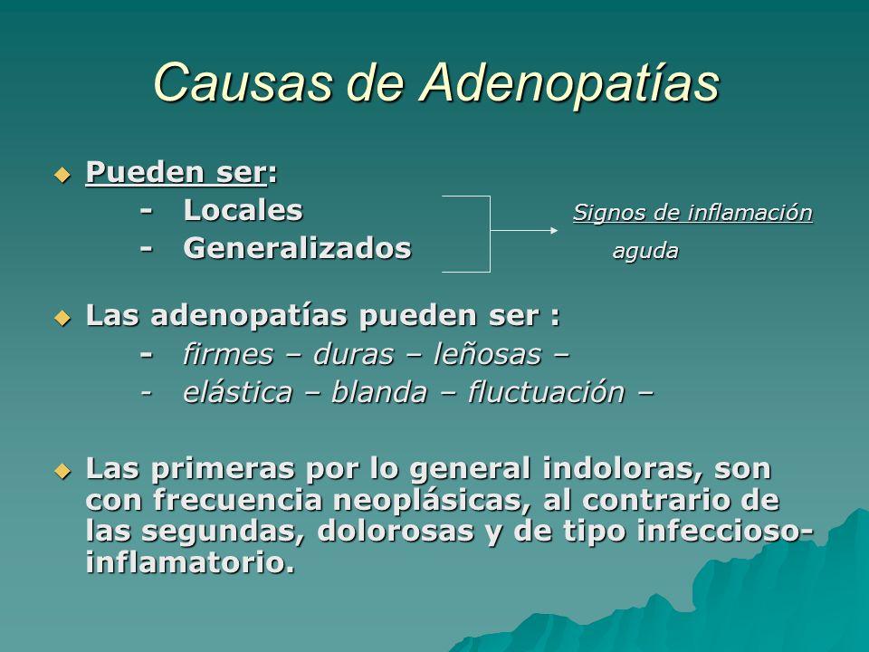Causas de Adenopatías Pueden ser: - Locales Signos de inflamación