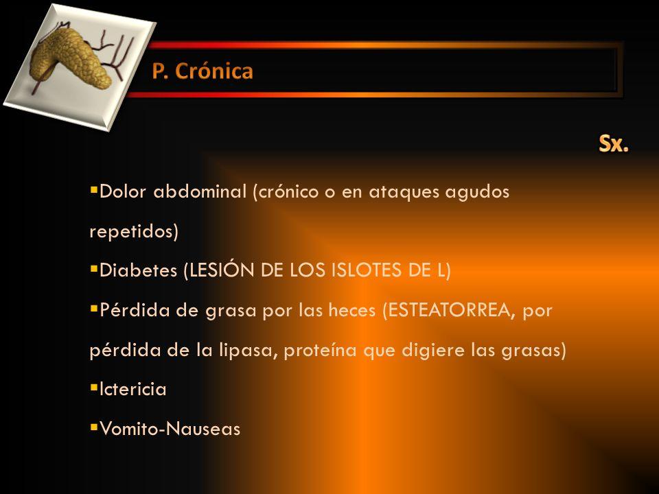 P. Crónica Sx. Dolor abdominal (crónico o en ataques agudos repetidos)
