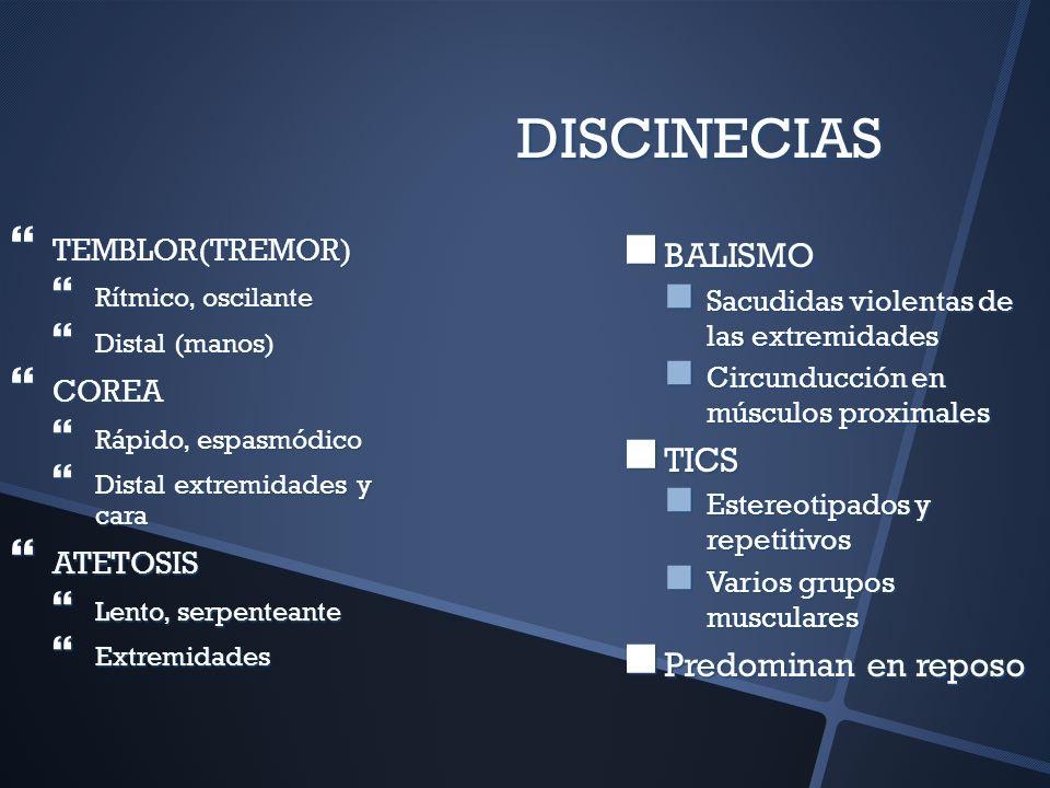 DISCINECIAS BALISMO TICS Predominan en reposo TEMBLOR(TREMOR) COREA