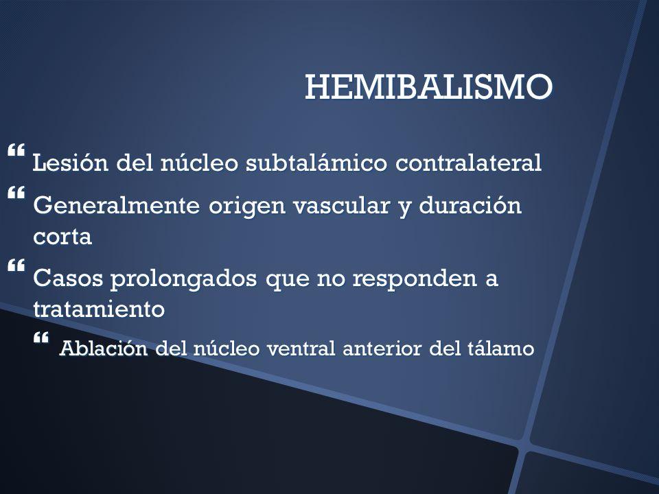 HEMIBALISMO Lesión del núcleo subtalámico contralateral