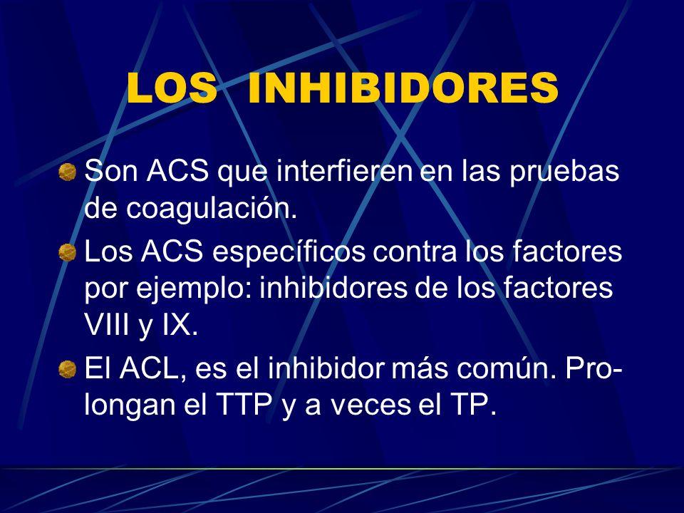 LOS INHIBIDORES Son ACS que interfieren en las pruebas de coagulación.