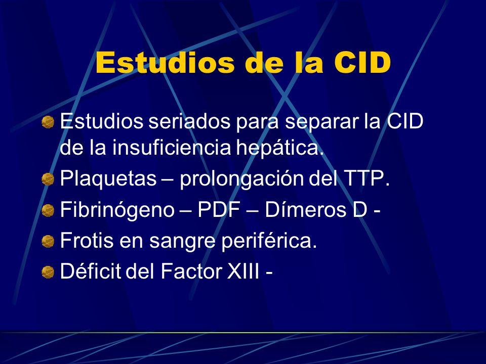 Estudios de la CID Estudios seriados para separar la CID de la insuficiencia hepática. Plaquetas – prolongación del TTP.