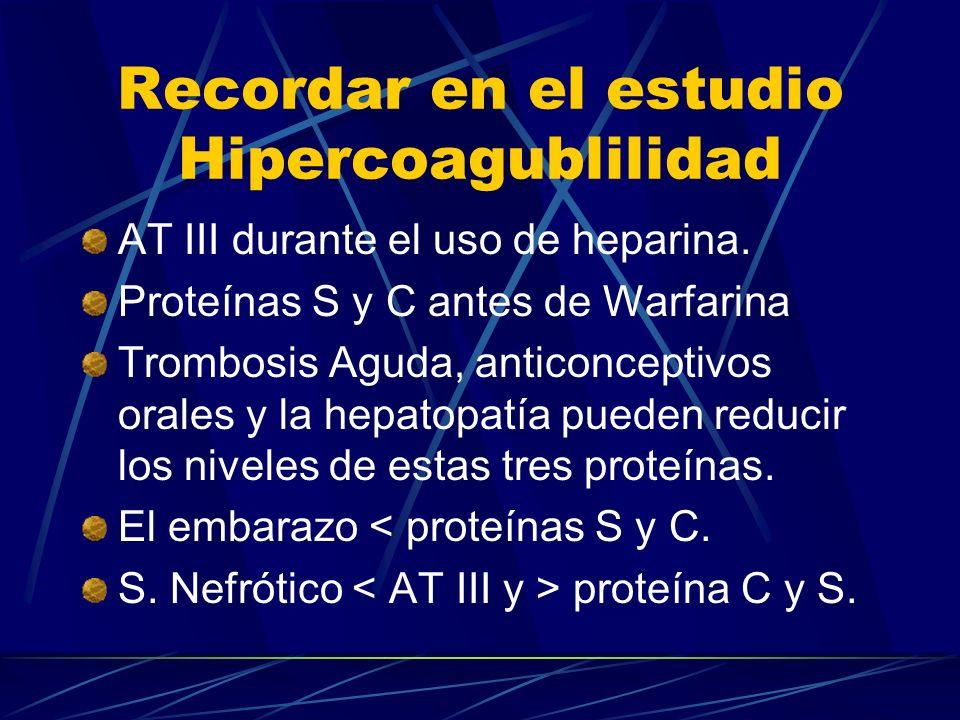 Recordar en el estudio Hipercoagublilidad