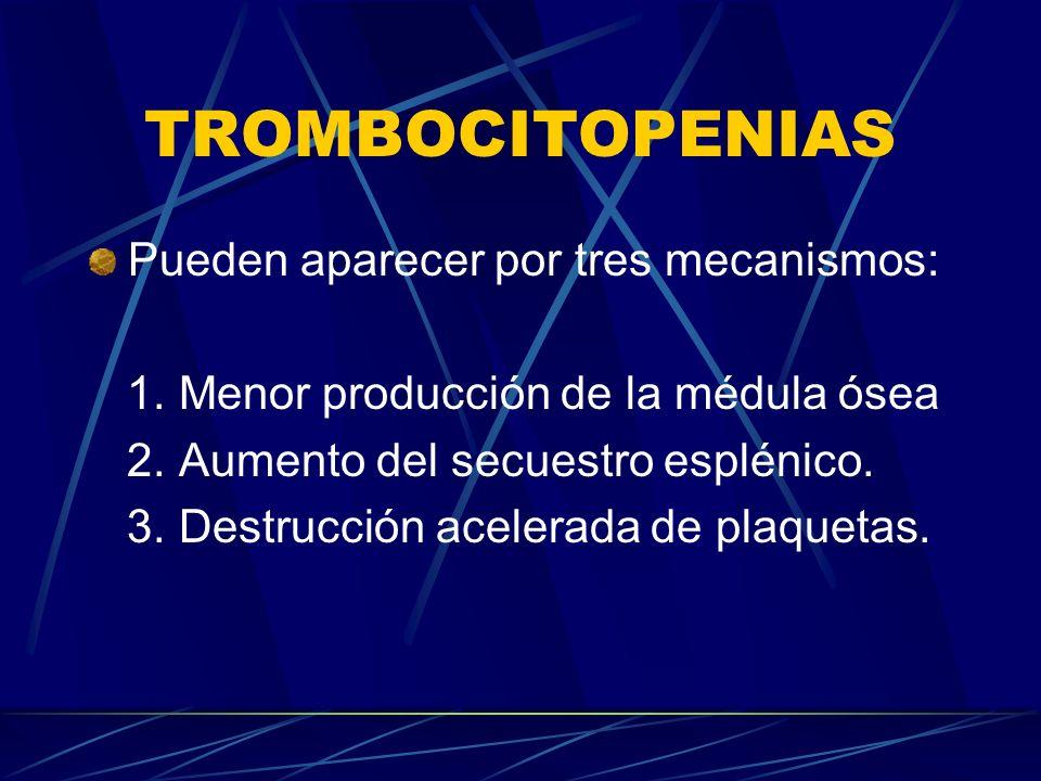 TROMBOCITOPENIAS Pueden aparecer por tres mecanismos: