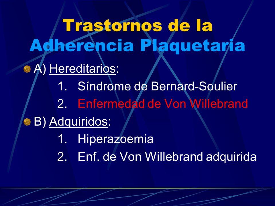 Trastornos de la Adherencia Plaquetaria