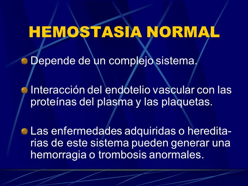 HEMOSTASIA NORMAL Depende de un complejo sistema.