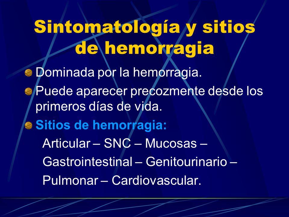Sintomatología y sitios de hemorragia