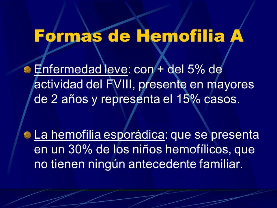 Formas de Hemofilia A Enfermedad leve: con + del 5% de actividad del FVIII, presente en mayores de 2 años y representa el 15% casos.