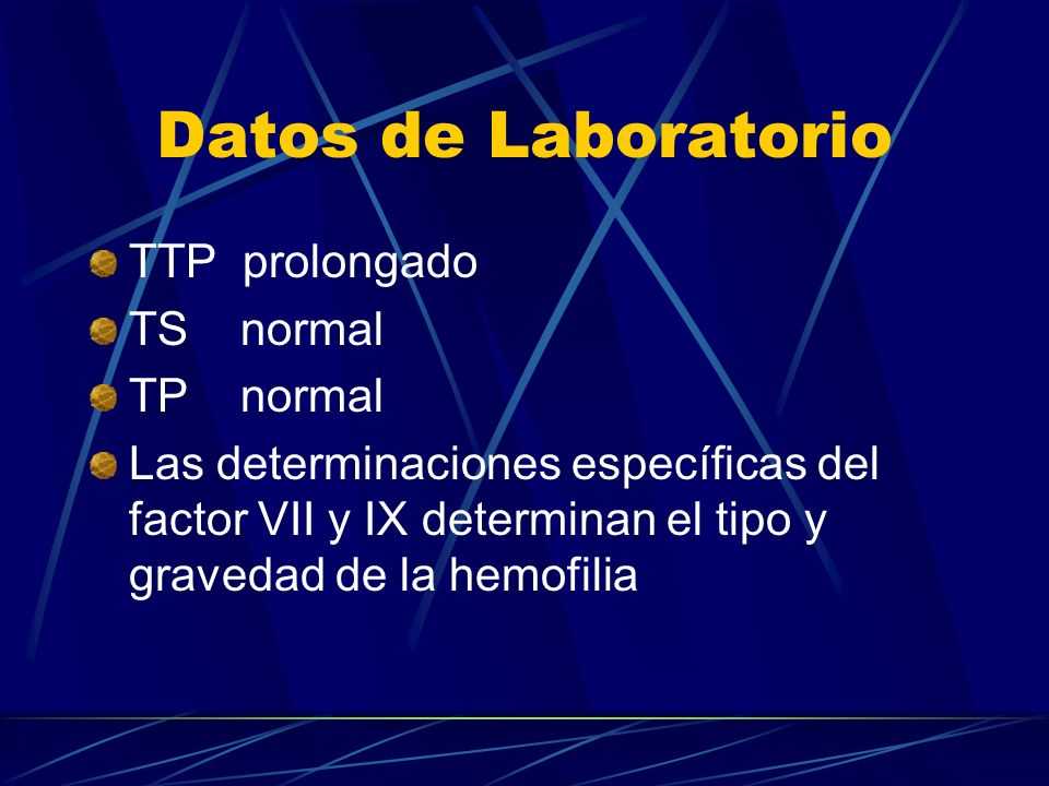Datos de Laboratorio TTP prolongado TS normal TP normal
