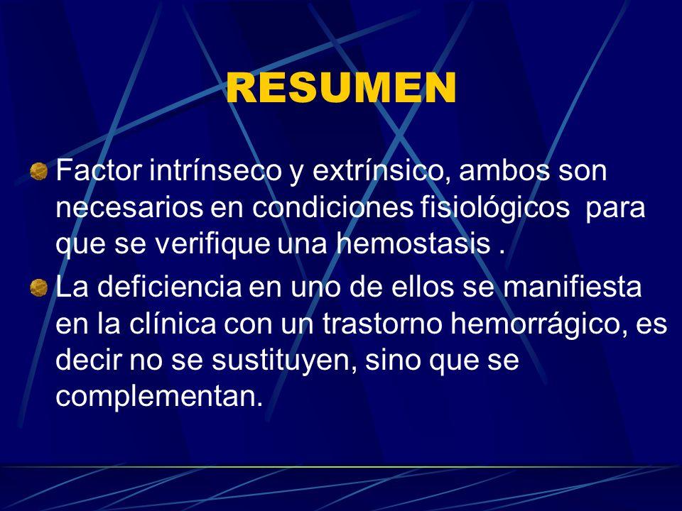 RESUMEN Factor intrínseco y extrínsico, ambos son necesarios en condiciones fisiológicos para que se verifique una hemostasis .