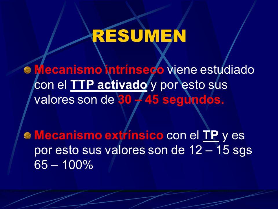 RESUMEN Mecanismo intrínseco viene estudiado con el TTP activado y por esto sus valores son de 30 – 45 segundos.