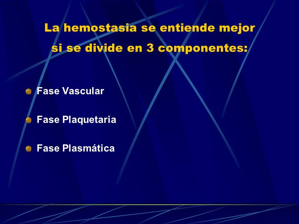 La hemostasia se entiende mejor si se divide en 3 componentes:
