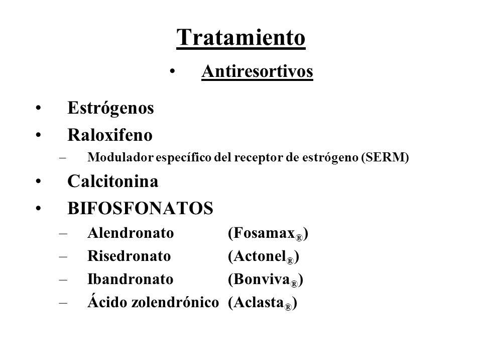 Tratamiento Antiresortivos Estrógenos Raloxifeno Calcitonina