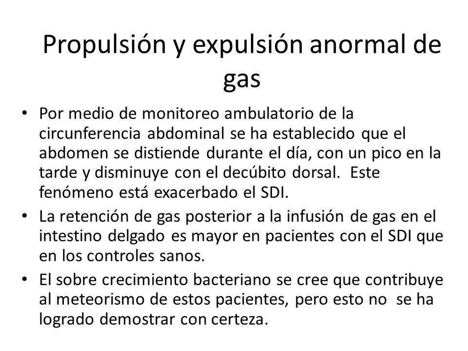 Propulsión y expulsión anormal de gas