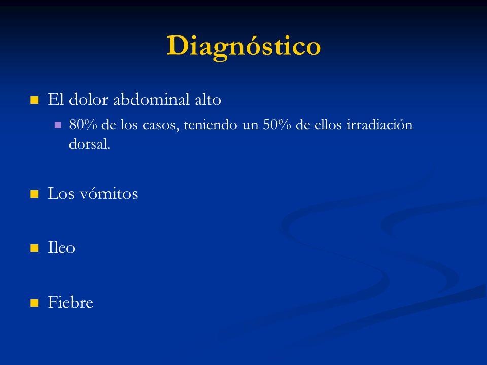 Diagnóstico El dolor abdominal alto Los vómitos Ileo Fiebre