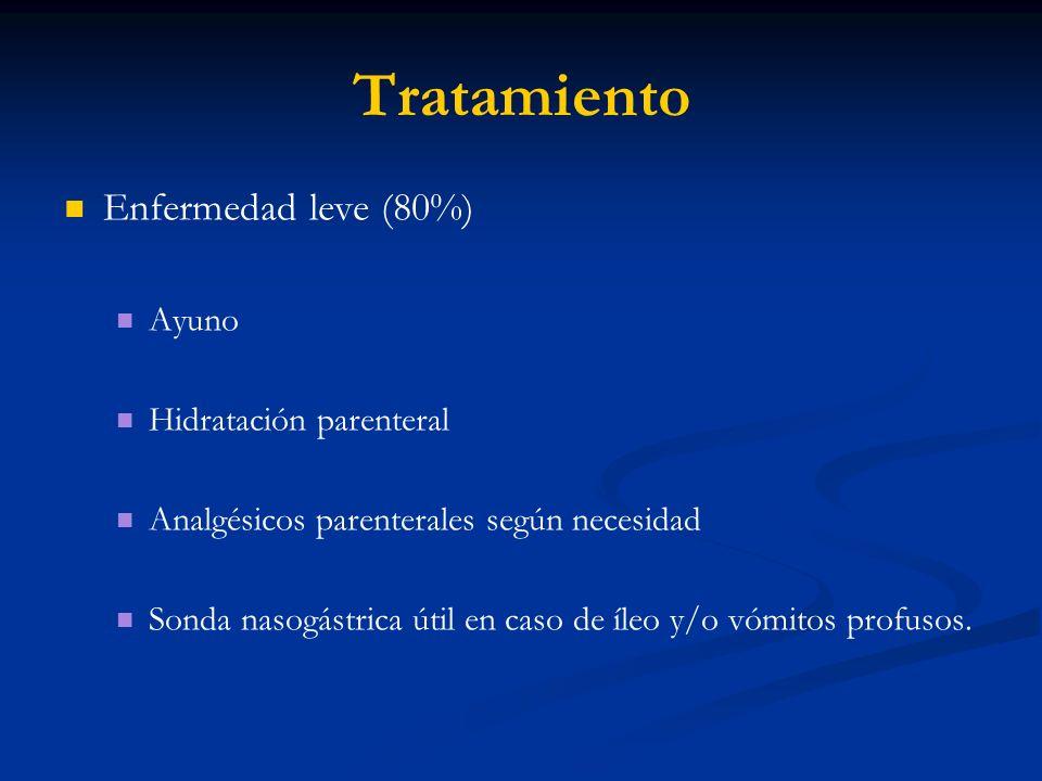 Tratamiento Enfermedad leve (80%) Ayuno Hidratación parenteral