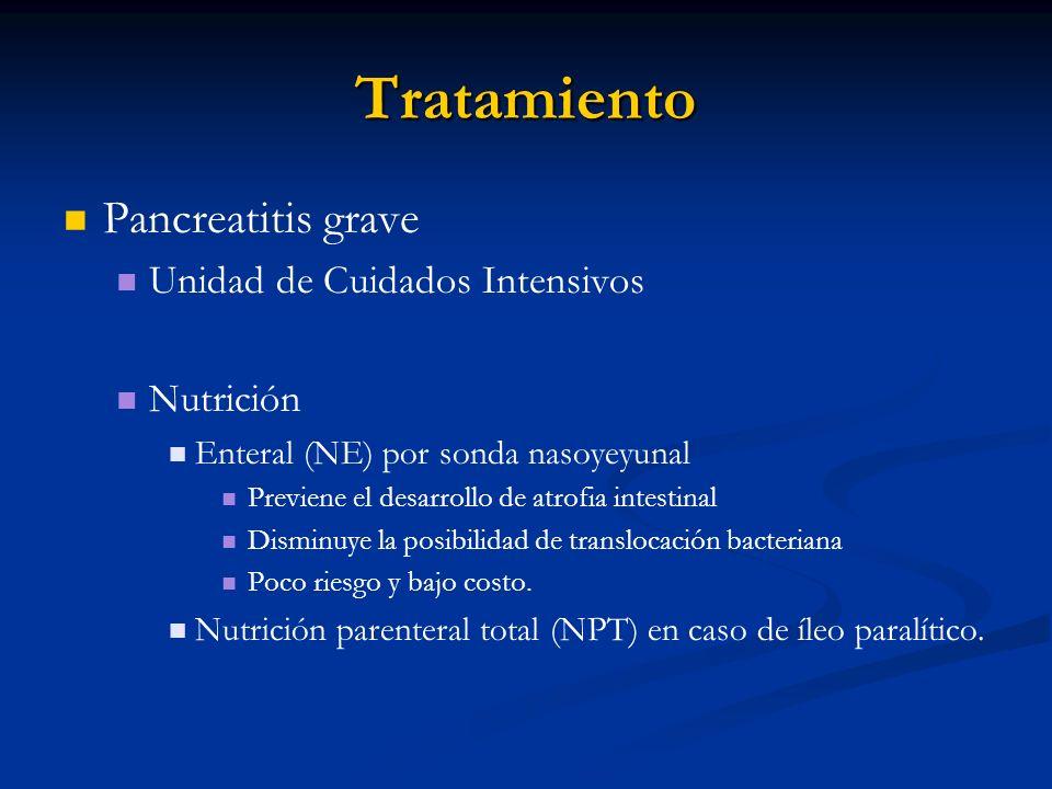 Tratamiento Pancreatitis grave Unidad de Cuidados Intensivos Nutrición