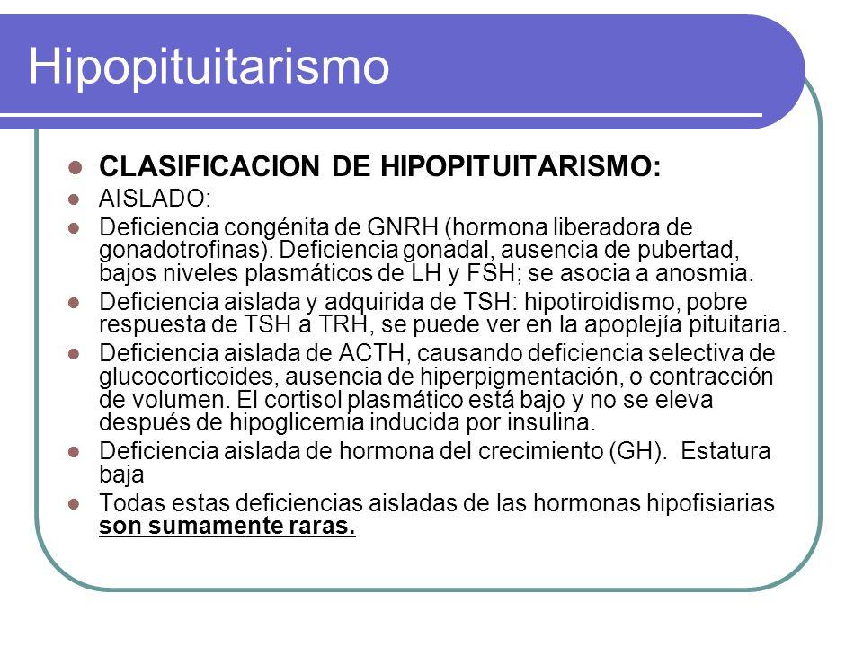 Hipopituitarismo CLASIFICACION DE HIPOPITUITARISMO: AISLADO: