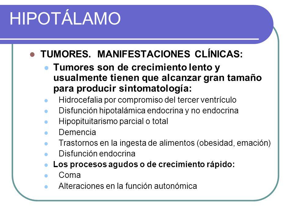 HIPOTÁLAMO TUMORES. MANIFESTACIONES CLÍNICAS: